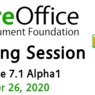 Logo akce Bug Hunting Session LibreOffice 7.1 Alpha 1
