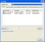 Dialog pro správu certifikátů ve Windows